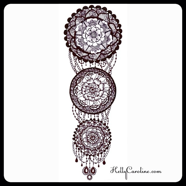 The newest henna inspired permanent tattoo design request. My client wanted a series of mandalas, descending in size, connected by something with a jewelry element at the bottom. She was overjoyed when I sent this her way .  it makes me so happy that I can make someone's vision into a reality. #henna #hennas #hennalife #tattoo #tattoos #tattoodesign #kellycaroline #michigan #michiganart #ink #india #mandala #design #designs #mehndi #yoga #yogi #jewelry #flowers #floral #chains #blackandwhite #draw #drawing #custom #commission