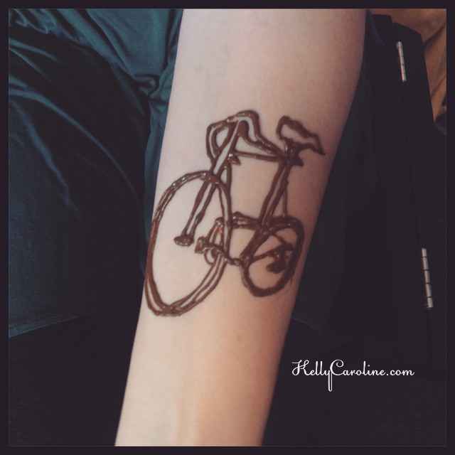 Henna tattoo of a bicycle
