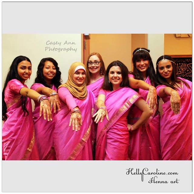 These Ladies looking fabulous in their saris, sporting their henna and being very sassy what a great group! #henna #hennas #wedding #Bangladesh #sari #pink #sassy #mehndi #kellycaroline #hennaartist #art #tattoo #tattoos #ink #marriage #gold #design #hennastain #red #hennatattoos #party #ladies #bridalparty #bride #michigan #hennalife
