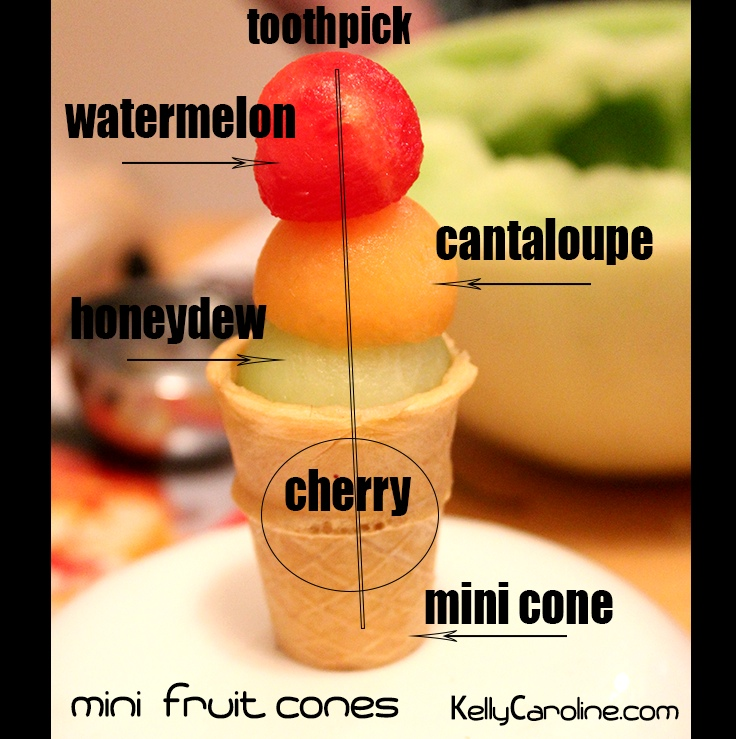 Mini Fruit Cones tutorial,  perfect party food display,  How to arrange fruit for a party, ice cream party, kids party, kids party food, summer party food