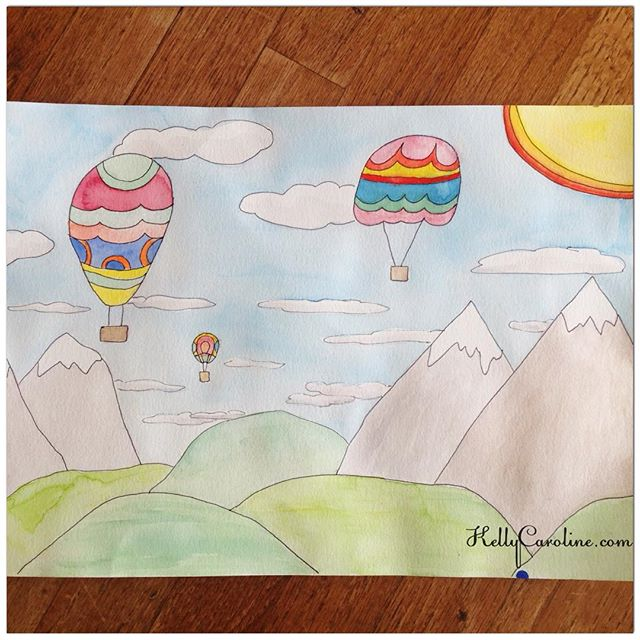 latest watercolor interest : hot air balloons and mountains . Enjoy! #illustration #watercolor #watercolors #hotairballoon #balloon #nature #mountains #art #artist #kellycaroline #kids #sunshine #colorful #pastel #design #michigan