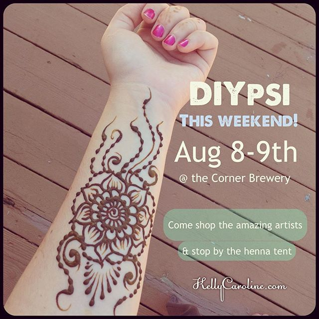 DIYpsi this weekend! I am so excited! Come by and see the amazing artists and shop their awesome crafts & art. Stop by and see me in the henna tent and say hello ! @diypsi is by far my favorite event all year  you'll get to see paintings by @gibnerd, beautiful screen printed art by @marcydavy , adorable stuffed monsters by @shopcoolcritters, creative & colorful jewelry by @courtneyfischerjewelry , Library Lab by @sherrinicole and many many more! #cornerbrewery #thisweekend #weekend #artists #indie #craftmarket #crafts #michigan #summer #henna #tattoos #kellycaroline #shop #music #art