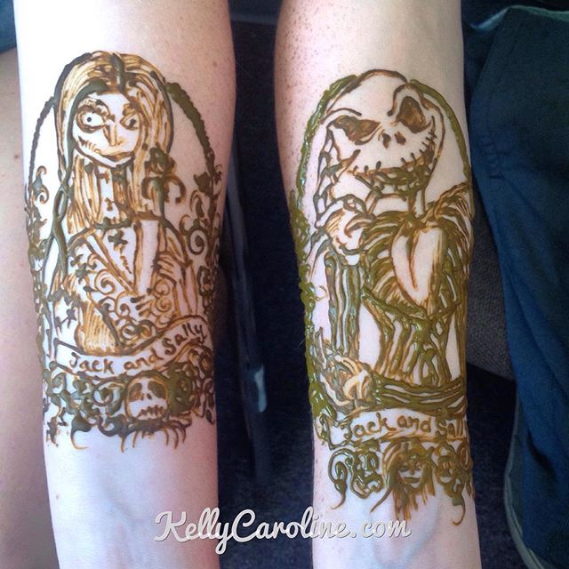 Jack and Sally henna tattoo . Nightmare Before Christmas henna tattoo for a cute couple . She wanted Sally and he wanted Jack the Pumpkin King  #tattoo #tattoos #kellycaroline #michigan #michiganhenna #couplestattoo #jackandsally #nightmarebeforechristmas #disney #organic #pumpkin #jackskellington #custom #design #art #artist #drawing #ink #cartoon #sally #halloween #dating #gothic #hennas #hennatattoos #studio #hennadesigns