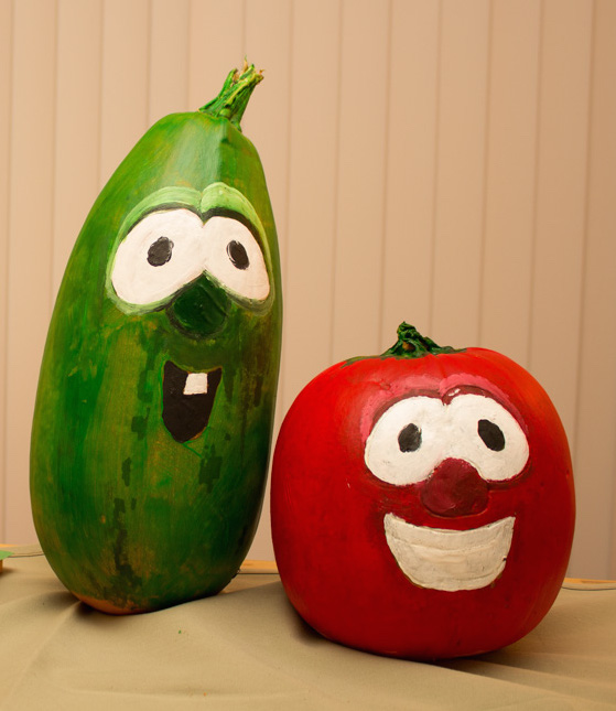 larry and bob from Veggie tales, pumpkin painting ideas for kids