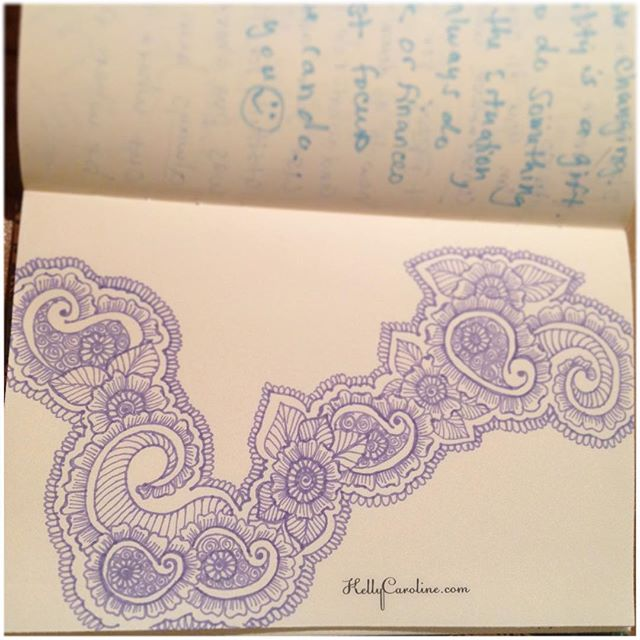 A drawing with flowers and paisleys in my new @finebergartstudio notebook practicing henna designs and tattoo ideas