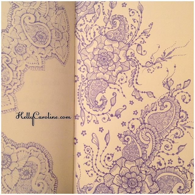 A drawing with flowers and paisleys in my new @finebergartstudio notebook practicing henna designs and tattoo ideas #henna #hennadesign #hennatattoo #kellycaroline #hennaartist #michigan #michiganartist #hennas #drawing #draw #notebook #sketch #sketchbook #tattoo #tattoos #art #artist #flower #flowers #paisley #sharpie #ink #pen #paper #yogi #yoga #ypsilanti #ypsi