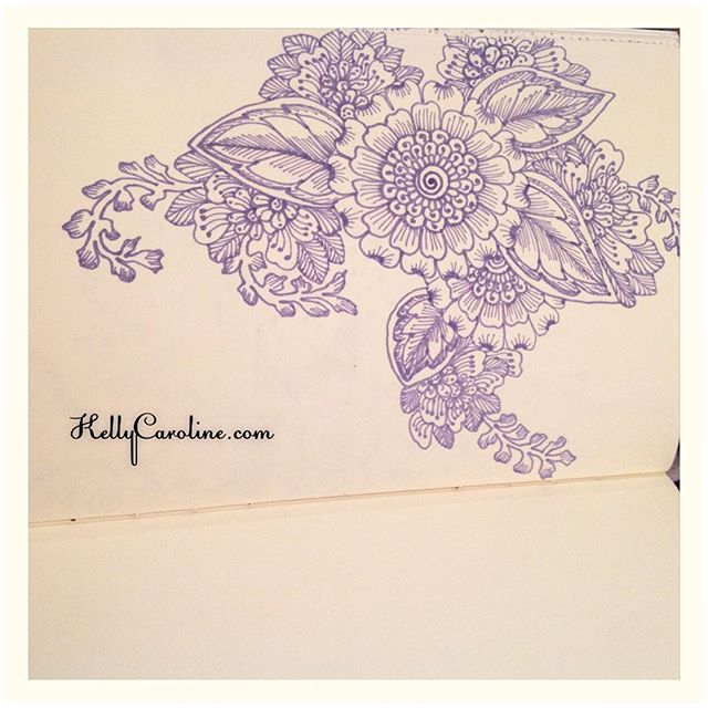 A new drawing in my notebook today with my big and little flowers sprawled throughout