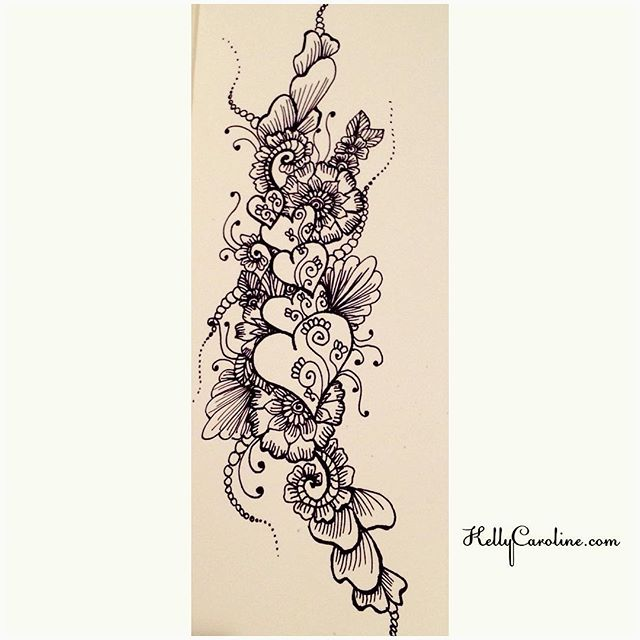 Hearts and flowers henna style drawing