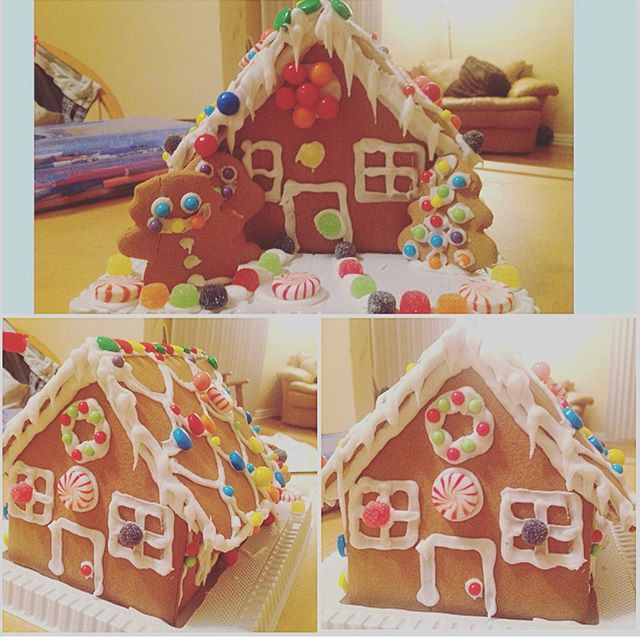 Our gingerbread house - i did the icing piping and my lil buddy did the decorating- for being not even 6 years old yet, i think he did a great job  #gingerbreadhouse #ginger #crafts #candy #christmas #kids #decorate #snowman #gumdrops #peppermint #family #gingerbread
