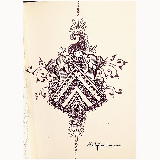 A New Drawing In My Notebook Today With Triangle Henna Tattoo Design