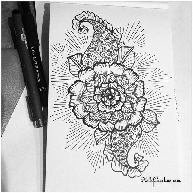 A new henna tattoo sketch #tattoodesign #henna #hennas #ypsi #ypsilanti #michigan #michiganartist #kellycaroline #mehndi #mehndidesign #tattoo #tattoos #tattoodesigns #drawing #mandala #flower #flowers #ink #yoga #yogi #sketch_daily #artstagram #instartlovers #art_spotlight #justartspiration #arts_help #art_worldly