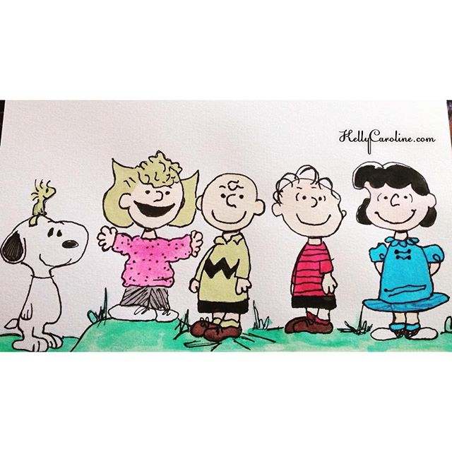 I painted a little Charlie Brown, Snoopy & Woodstock as we get into the Christmas season  In my @finebergartstudio watercolor book  @peanutsmovie @snoopygrams