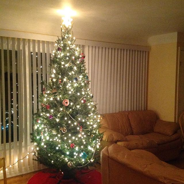 O christmas tree  our fresh tree from the farmers market in town. Very very thankful to have all I have this Christmas season, especially my family and friends #christmas #tree #christmastree #ypsi #ypsilanti #lights #season #winter #warmth #ornaments #star #celebrate #thankful
