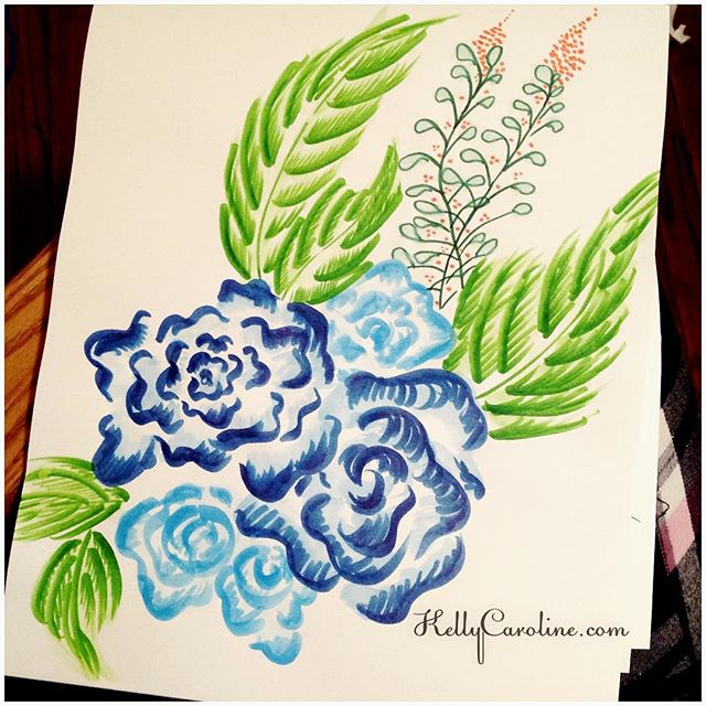 I got excited to work with my winsor & newton watercolor markers and this was the result #flowers #flower #watercolor #instartlovers #arts_help #kellycaroline #tattoo #tattoos #tattoodesign #blue #prints #ypsi #ypsilanti #michigan #peonies #annarbor #detroit #drawing