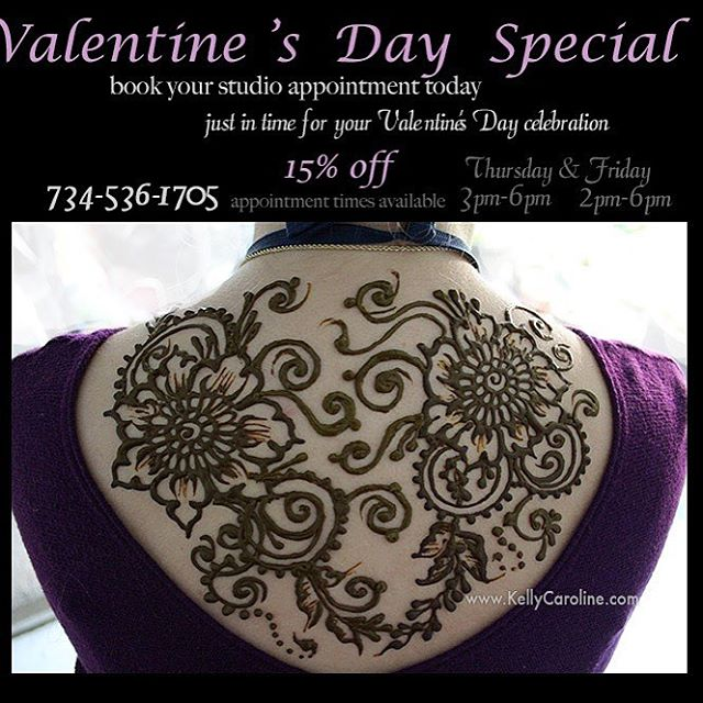 Valentine's Day special! Just time time for your special celebration- henna is a wonderful surprise!  plus 15% off your appointment this Thursday and Friday