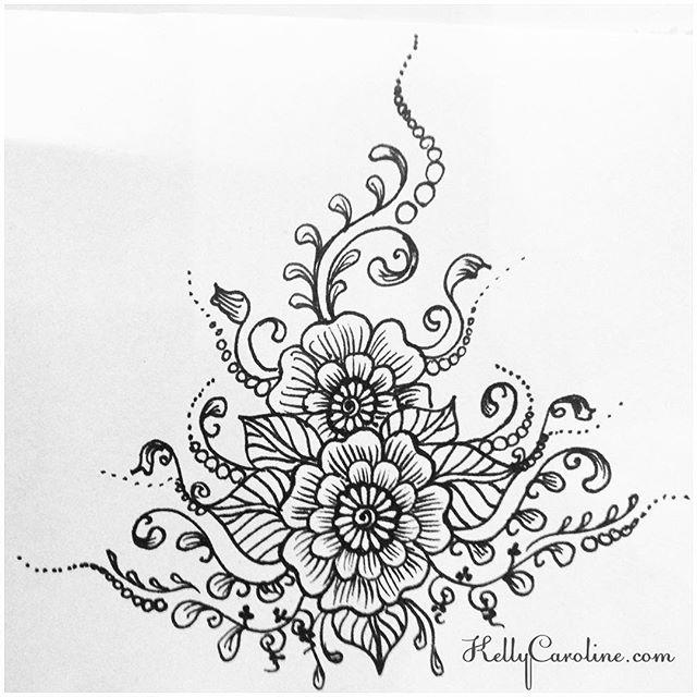 Big Flower Mehndi Design : Henna flower sketch makedes