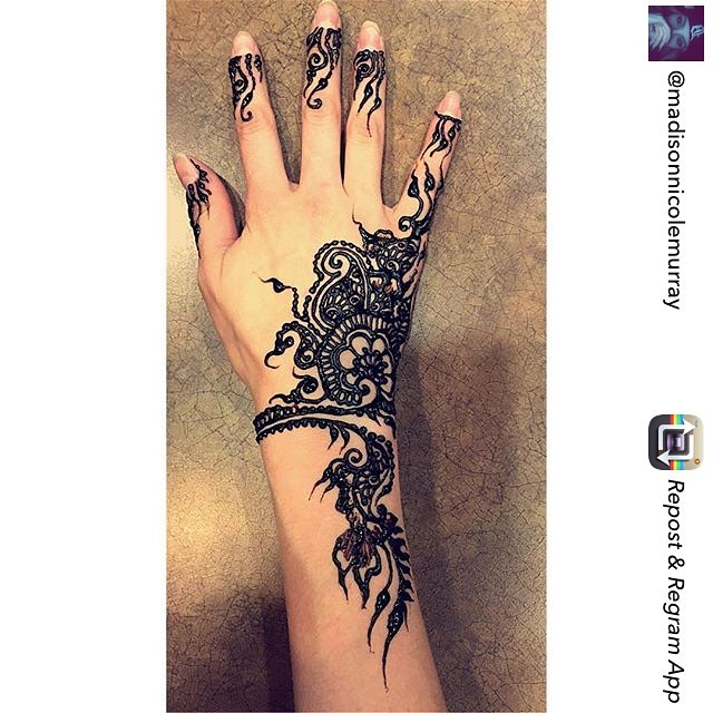 Repost by @madisonnicolemurray – hand henna design for her yesterday – private appointments available Monday-Saturday 2-5:30pm call 734-536-1705 or email kelly@kellycaroline.com