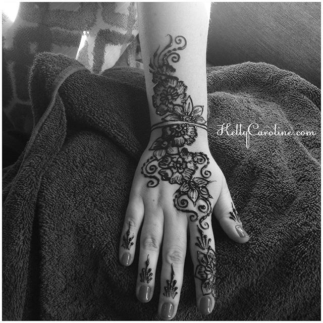 Henna for a guest at our Mehndi Party today in Troy, MI we were the artists for – . . . private appointments available Monday-Saturday 2-5:30pm call 734-536-1705 or email kelly@kellycaroline.com