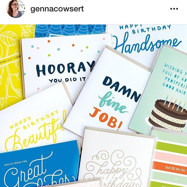 My friend and awesome designer @gennacowsert from Detroit Card Company is having a great grab bag sale 60% off her colorful cards! The sale ends tonight so head over to her page for more info . .