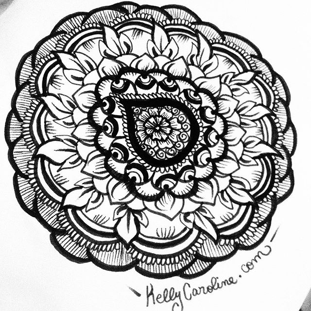 A black and white henna mandala from my sketchbook last night