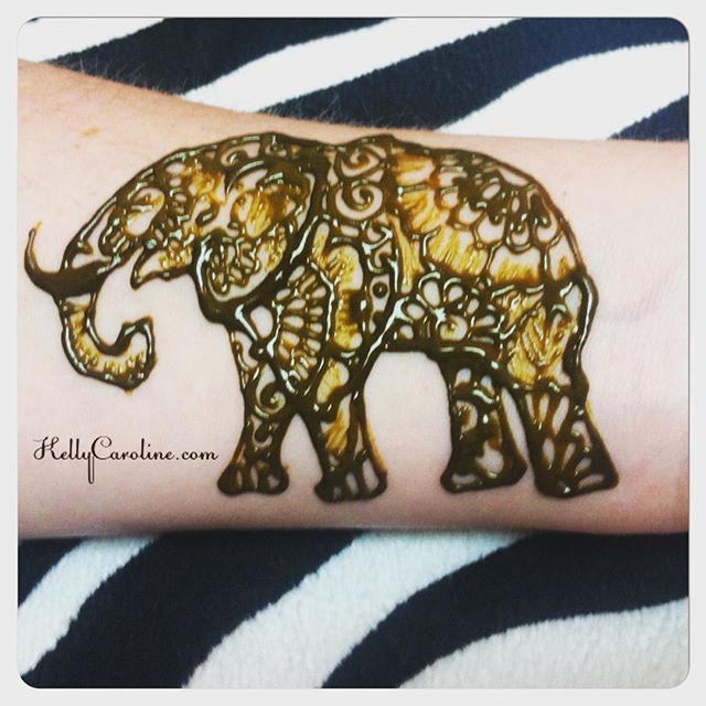 Cute elephant henna tattoo as a test for a permanent tattoo – private appointments available Monday-Saturday 2-5:30pm call 734-536-1705 or email kelly@kellycaroline.com