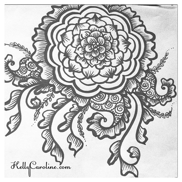 Here's to what I hope will be a relaxing day for you – enjoy! ( A black and white henna mandala from my sketchbook)