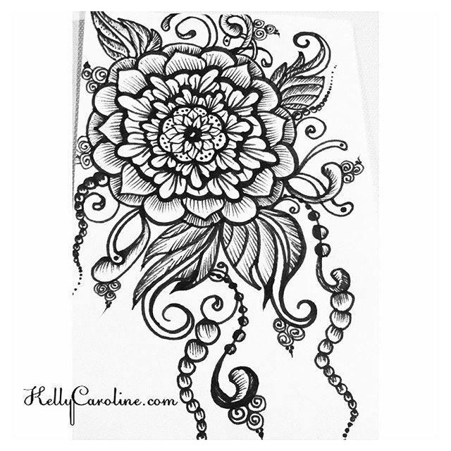 I enjoyed drawing this one today - especially the leaves . . . #tattoodesign #henna #hennas #ypsi #ypsilanti #detroit #michigan #michiganartist #kellycaroline #mehndi #mehndidesign #tattoo #tattoos #tattoodesigns #drawing #mandala #flower #flowers #ink #yoga #yogi #sketch_daily #artstagram #instartlovers #art_spotlight #justartspiration #arts_help #art_worldly #blxckmandalas