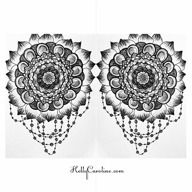 Black and white twin mirrored mandalas with a fun jewelry beaded dangle