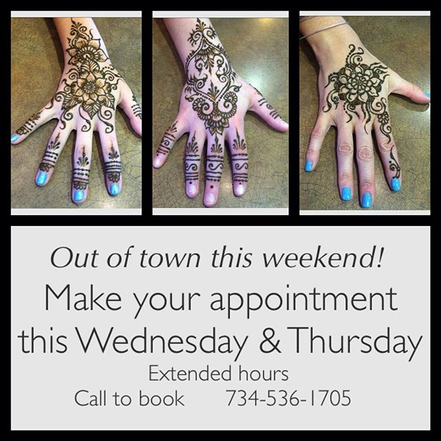 Going out of town this weekend so the last appointments for henna are Wednesday & Thursday. 2-8:30pm call 735-536-1705 or email kelly@kellycaroline.com