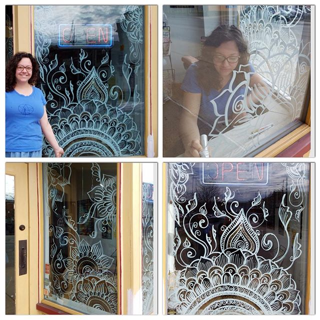 Having my henna studio at an amazing location like @world_of_rocks_ypsi is a dream! I painted the window display last week to celebrate spring! If you need to find us, our studio is inside this shop of magic. . .