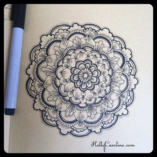 Black inked mandala with some fun shading