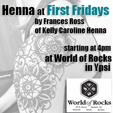 First Fridays tomorrow ! Come show off your skin and get adorned with some beautiful henna designs !!