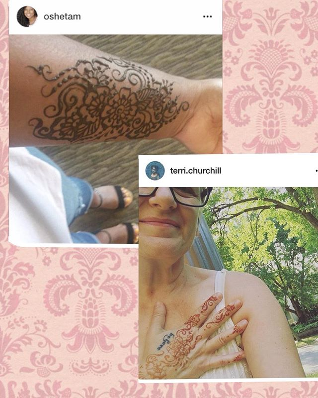 Got the opportunity to share the weekend with these lovely ladies & do henna for them . @terri.churchill is an amazing artist and you should certainly check out her inspirational work. @oshetam is the author of Shalom Sistas and podcast host - can't wait to read her book! #henna #hennatattoo #reknew17 #shalom #shalomsistas #mehndi #floraltattoo #woodlandhillschurch