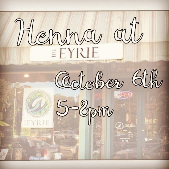 We will be doing henna at @theeyrieypsi October 6th 5-8pm for #firstfridays - come get Eeerie at the Eyrie ! #ypsilanti #ypsi #ypsireal #theeyrie #henna #hennatattoo #kellycaroline #hennaannarbor #hennamichigan #michigan #annarbor #mehndi #a2