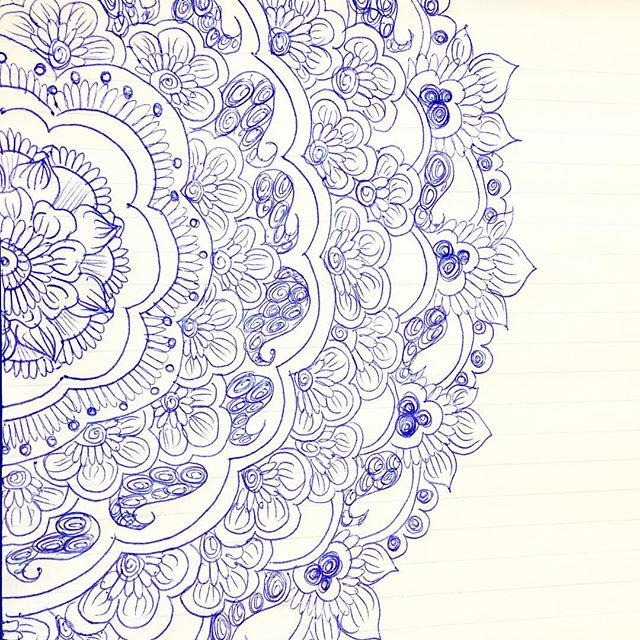 A quick doodle with a blue pen and notebook page #tattoodesign #henna #hennas #ypsi #ypsilanti #detroit #michigan #michiganartist #kellycaroline #mehndi #mehndidesign #tattoo #tattoos #tattoodesigns #drawing #mandala #flower #flowers #ink #yoga #yogi #sketch_daily #artstagram #instartlovers #art_spotlight #justartspiration #arts_help #art_worldly #blxckmandalas