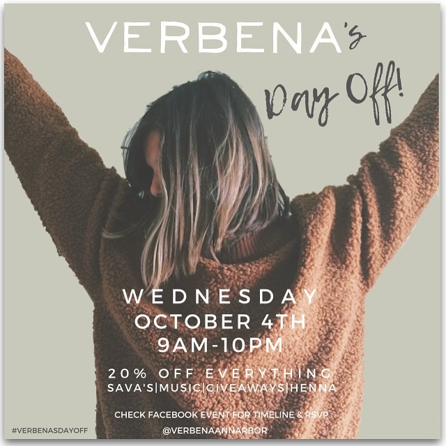 The secret is out! 20% off everything at @verbenaannarbor this Wednesday and to celebrate we will be doing free from 5-7pm at Verbena ! Come have a girls night and shop the sale!