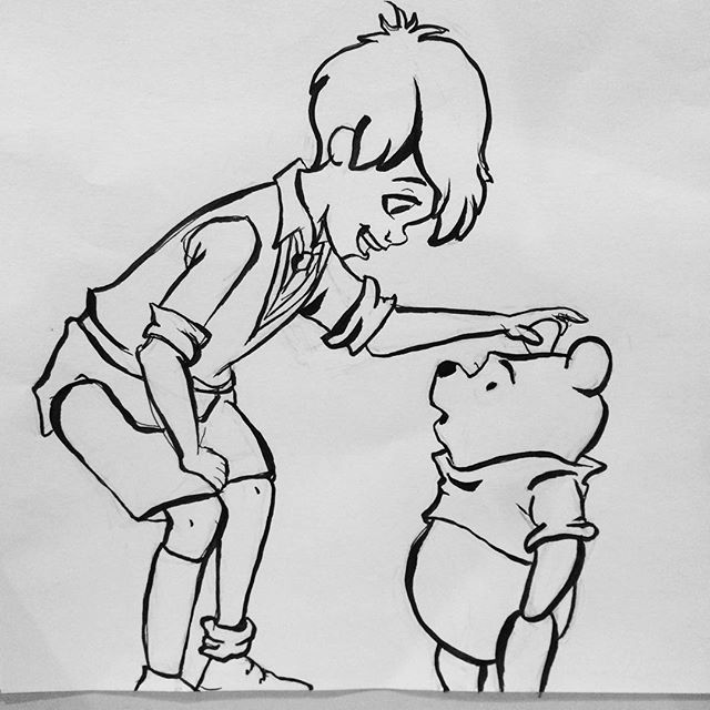 A little Winnie the Pooh and Christopher Robin drawing tonight @disney