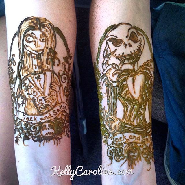 A throwback to a Jack and Sally henna design I did for a cute high school couple two years ago – I wonder if they're still in love?  email kelly@kellycaroline.com