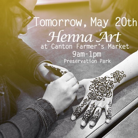 TOMORROW Sunday May 20th 9am-1pm I'll be doing henna at Canton Farmer's Market - excited to enjoy the sunshine ! Stop by for HALF OFF all designs! . . . #canton #cantonmi #michigan #farmersmarket #annarbor #ypsilanti #ypsi #plymouth #plymouthmi #detroit #ferndale #novi #novimi @purecanton #881thepark #sundayfunday #henna #hennatattoo photo credit @ashieldsphoto